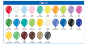 Heeliumipall.ee õhupallide värvikaart